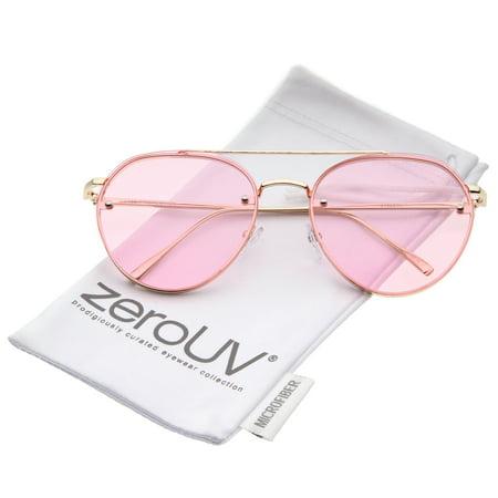 zeroUV - Modern Slim Temples Brow Bar Rimless Colored Flat Lens Aviator Sunglasses 59mm - (59mm Semi Rimless Aviator Sunglasses)