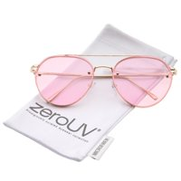 de9ed5d7a8 zeroUV - Modern Slim Temples Brow Bar Rimless Colored Flat Lens Aviator  Sunglasses 59mm - 59mm