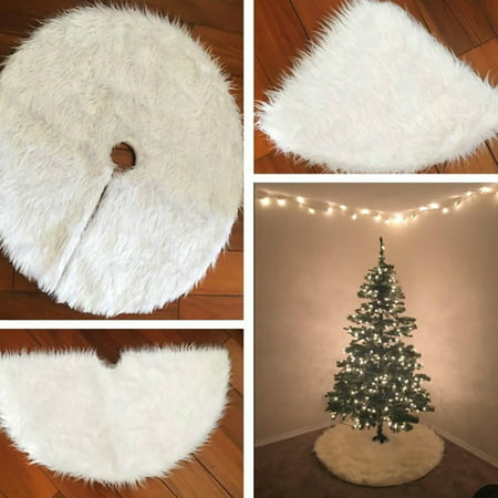 Girl12Queen 30.7inch Round Christmas Tree Skirt Faux Fur Ornament Xmas Party Tree Decoration