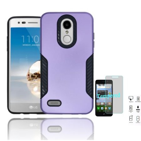 Phone Case for LG Fortune 2, LG Risio 3, LG Zone 4, LG Aristo 2 Plus, LG Tribute Dynasty Rubberized Hard Cover Case with Black Carbon Fiber Design + Tempered Glass Screen Protector (Purple)