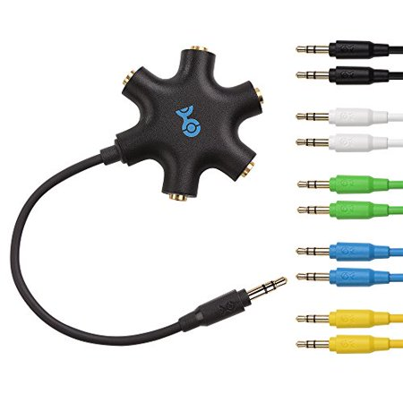Cable Matters Black 5-Way Headphone Splitter with 5-Pack Audio -