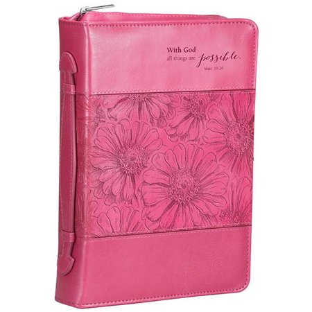 Pink LL Bible Cover with God MT 19: 26 Lg (Other)