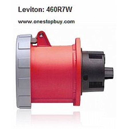 Leviton 460R7W Pin & Sleeve Outlet 60 Amp 480 Volt 3-Phase 3P 4W NA-Rated -  Red