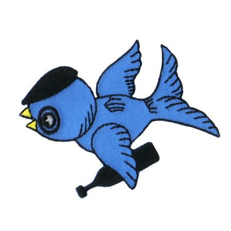 Monsieur Drunken Bluebird Patch Husband Bird Drink Embroidered Iron On Applique - T Birds Patch Grease