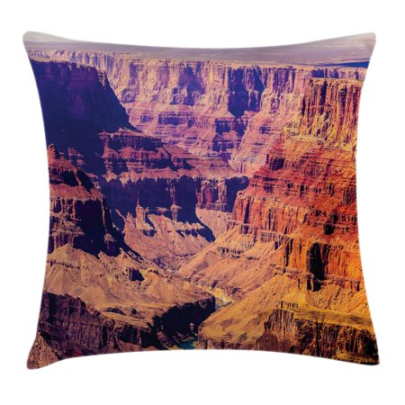 House Decor Throw Pillow Cushion Cover, Grand Canyon in Arizona with Base Elevations North American Sublime Tribal Landscape, Decorative Square Accent Pillow Case, 18 X 18 Inches, Brown, by