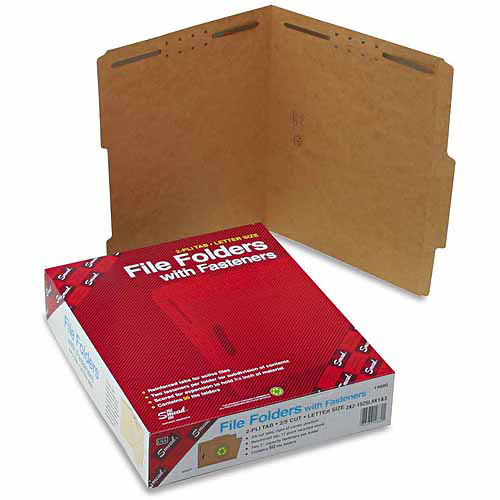 Smead 11 Point Kraft Folders, Two Fasteners, 2/5 Cut Top Tab, Letter, Brown, 50/Box