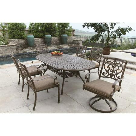 Darlee Santa Barbara 7 Piece Oval Patio Dining Set with Seat Cushion