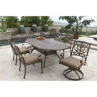 Darlee Santa Barbara 7 Piece Oval Patio Dining Set with Seat Cushion