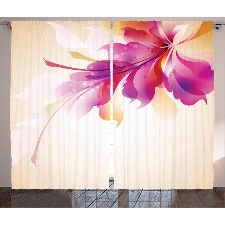 Focal Point Panel - Abstract Decor Curtains 2 Panels Set, Artistic Floral Design with Bright Points and Leaves Artwork , Window Drapes for Living Room Bedroom, 108W X 90L Inches, Purple Pink and Golden , by Ambesonne