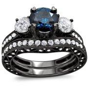 Noori Collection Noori 18k Black Gold 2 1/4ct TDW Blue and White Round Diamond Bridal Ring Set