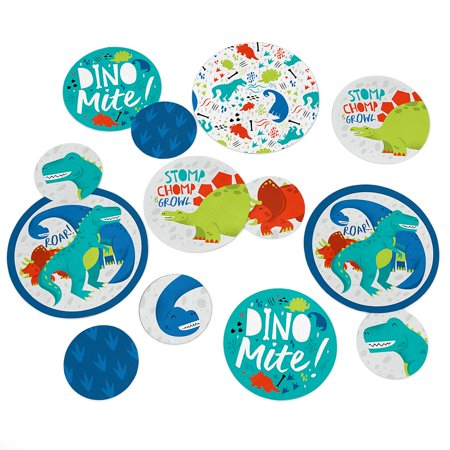 Roar Dinosaur - Dino Mite T-Rex Baby Shower or Birthday Party Giant Circle Confetti - Party Decorations - Large Confetti - Dinosaur Party