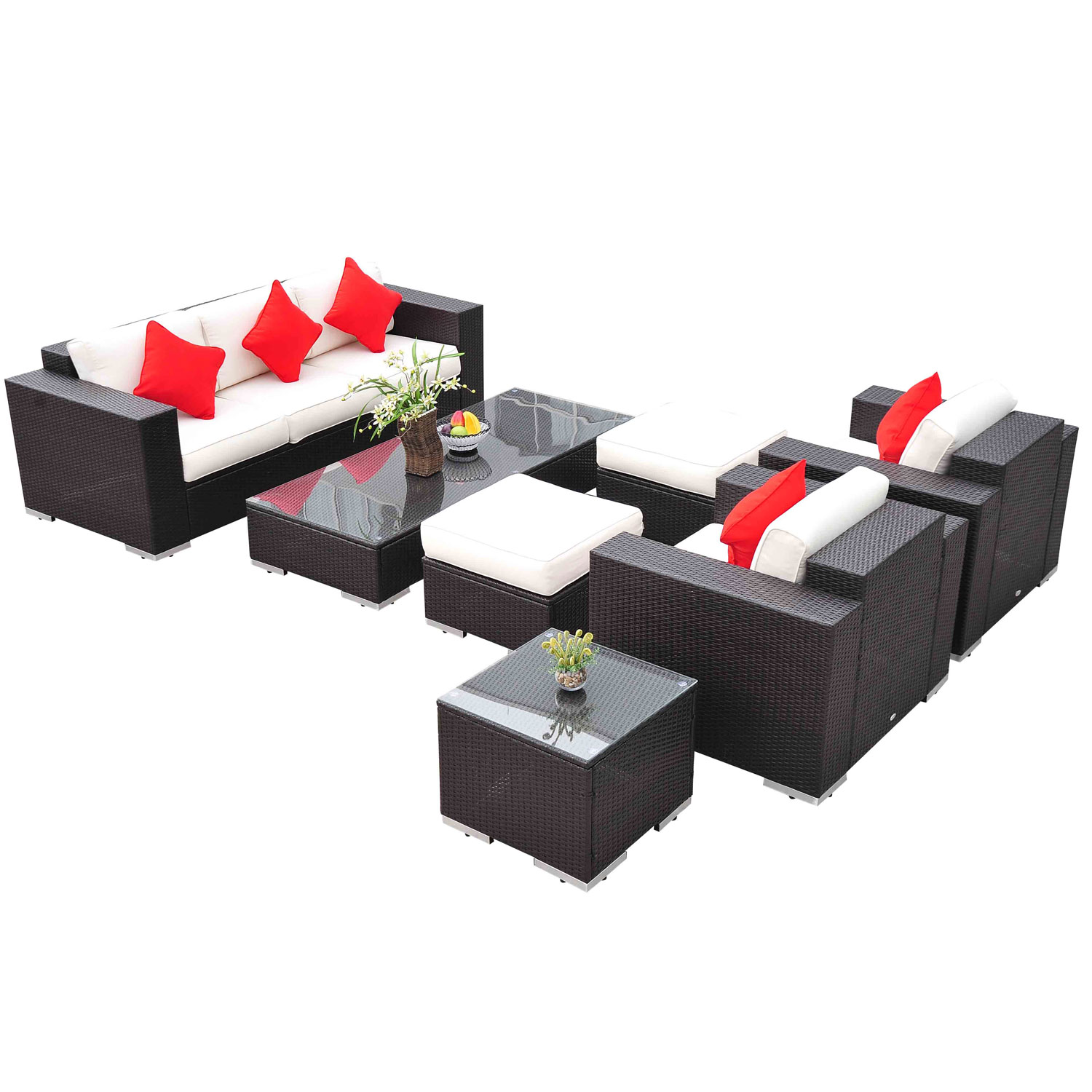 Outsunny 7pc PE Rattan Wicker Sectional Patio Sofa Furniture Set Walmart