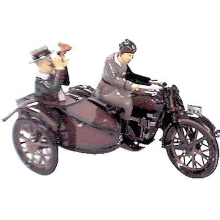 Alexander Taron Collectible Decorative Tin Toy Motor Cycle with Passenger in Sidecar - Decorative Tins