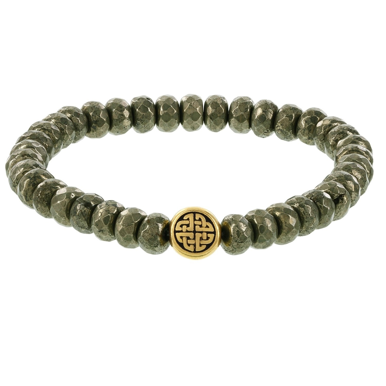 Fox and Baubles  Men's Pyrite Rondelles and Brass Eternity Beaded Stretch Bracelet