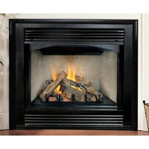 "Black Interior 32"" Propane Gas Electronic Stamped Louver Fireplace"