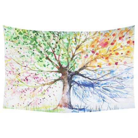 - PHFZK Watercolor Home Decor, Four Season Tree Abstract Modern Painting Artistic Artwork Tapestry Wall Hanging Sets 60 X 90 Inches
