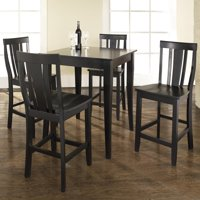 5 Piece Pub Dining Set with Cabriole Leg and Shield Back Stools-Finish:Black
