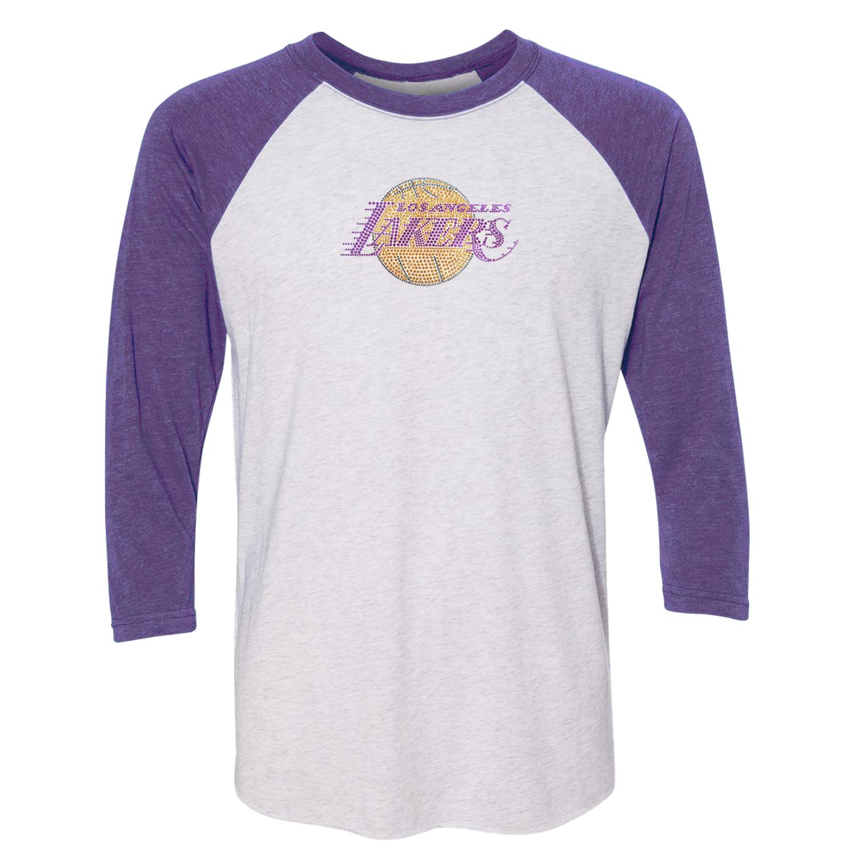 Los Angeles Lakers Women's Rhinestone Raglan 3/4-Sleeve T-Shirt - White