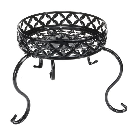Single Layer Plant Stand Rack Flower Pot Rack Round Patio Shelf Indoor Outdoor Garden Black