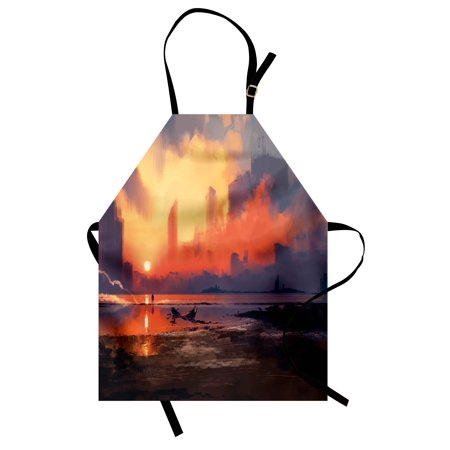 Fantasy World Apron Man on Sandy Beach with City Skyscrapers Skyline Sunset Oil Paint Graphic, Unisex Kitchen Bib Apron with Adjustable Neck for Cooking Baking Gardening, Orange Blue, by Ambesonne - Bake On Paint