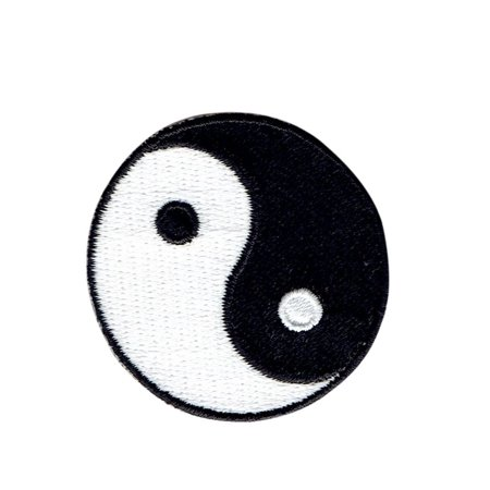 """Small - Yin and Yang - 1"""" size - Iron on Applique - Embroidered Patch"""