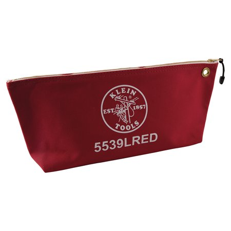 Klein Tools 5539LRED Large Red Canvas Bag With Zipper Klein Tools Canvas Zipper Bag