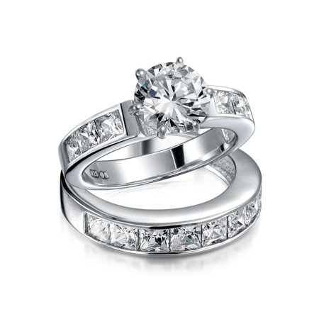 2CT Round Princess Cut 925 Sterling Silver Colorless Cubic Zirconia Engagement CZ Round Engagement Wedding Ring Set
