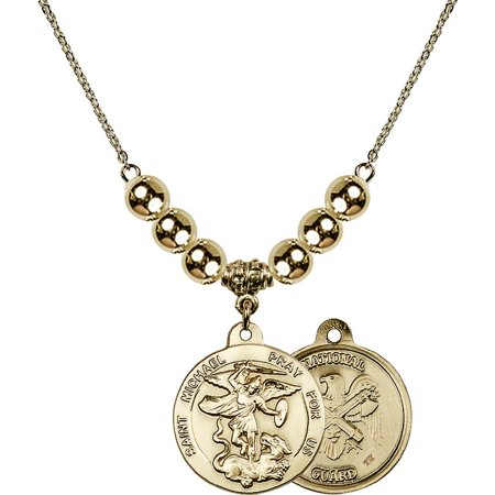 18-Inch Hamilton Gold Plated Necklace with 6mm Gold Filled Beads and Saint Michael / Nat'l Guard Charm