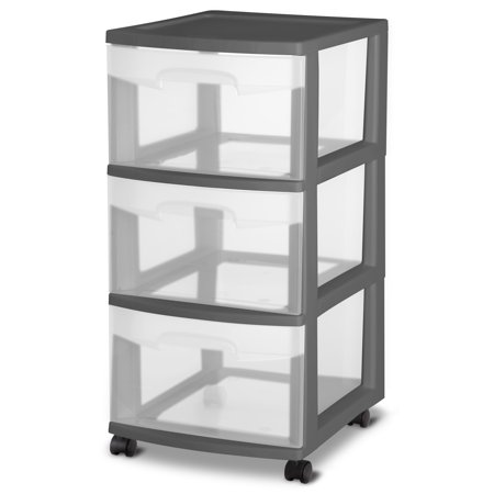 Sterilite, 3 Drawer Cart, Gray Flannel