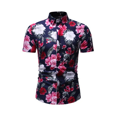 Devoko Mens Short Sleeve Shirt Casual Floral Printed Button Down Party Holiday Beach Tropical Aloha Hawaiian Slim Fit Polo Tops Blouse