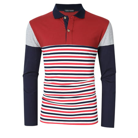 Yong Horse Men's Striped Color Block Slim Fit Long Sleeve Polo (Stone Island Long Sleeve Polo Slim Fit)