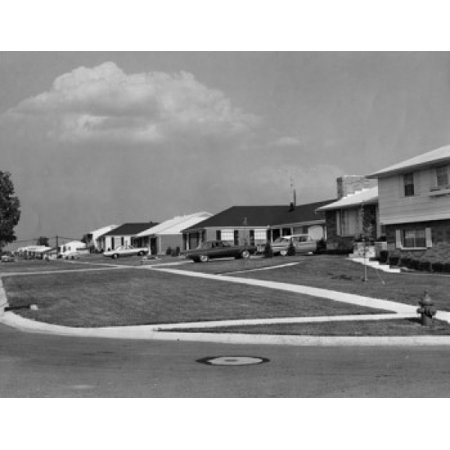 Usa Ohio Dayton Cars Parked In Front Of Houses Canvas Art     24 X 36