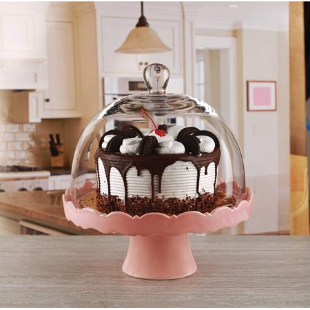 Circleware Dolche Torta Ceramic Cake Stand with Glass Dome, Rose, 11x12 Inches ()