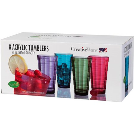 Party Drink Tumblers (CreativeWare 20-Ounce Mosaic Tumbler Set, Set of 8 )