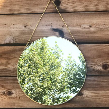 Koyal Wholesale Gold Modern Round Wall Mirror with Detachable Hanging Chain, Table Mirror for Centerpiece, Vanity Mirror