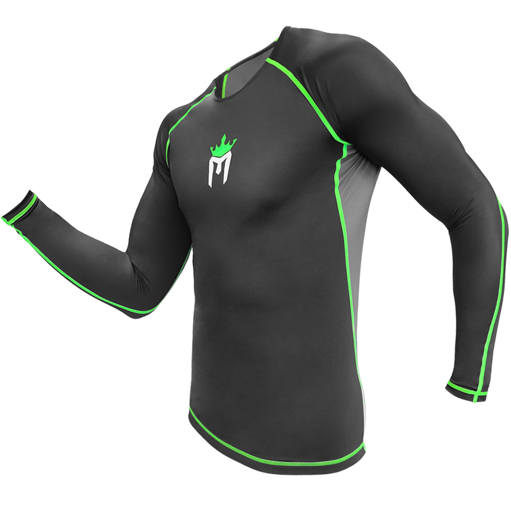 Meister Rush Long-Sleeve Rash Guard for MMA, BJJ & Surfing - White/Red - Small