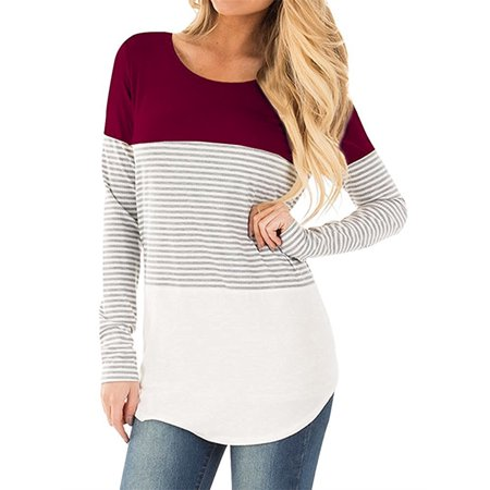Color Block Women Long Sleeve Striped T-shirts