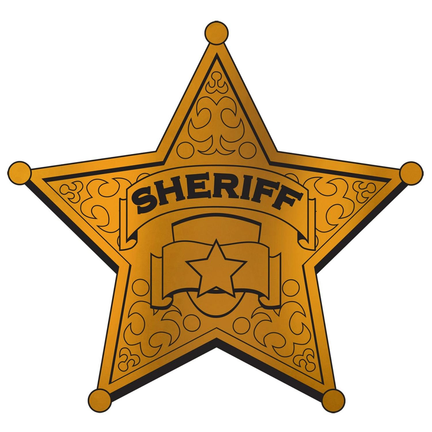 "Club Pack of 24 Gold and Black Foil ""Sheriff"" Badge Party Decorations 12"""