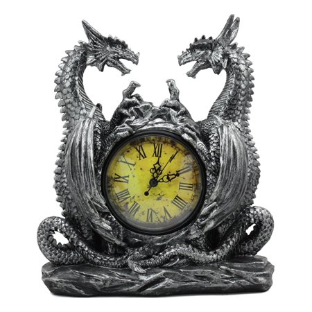 Ebros Gothic Twin Dragons Table Clock Statue 11.25