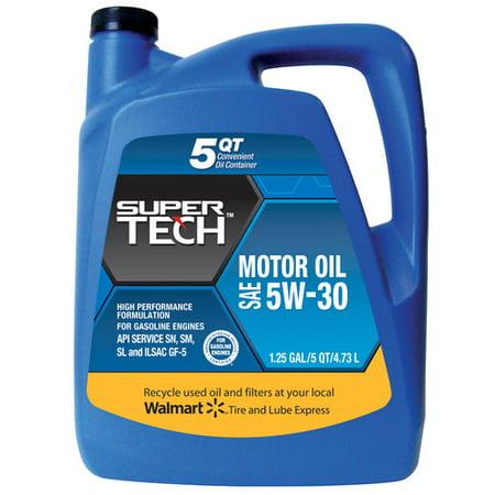 Supertech 5w30 motor oil 5 quart for Who picks up used motor oil