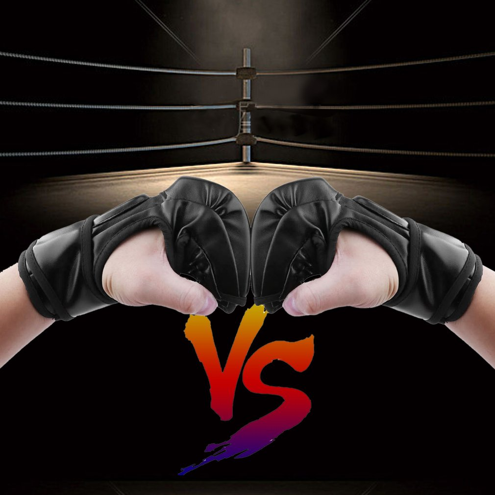 Black MMA UFC Sparring Grappling Fight Boxing Punch Ultimate Mitts Leather Gloves by YKS