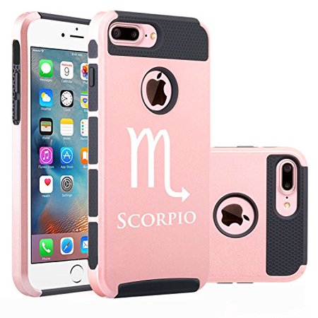 Apple Iphone  7 Plus  Shockproof Impact Hard Soft Case Cover Scorpio Zodiac Horoscope Birth Sign  Rose Gold Black  Mip