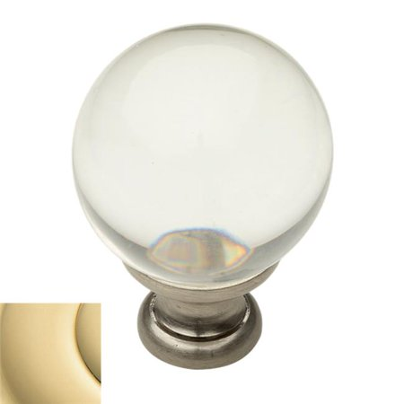 1.38 in. Crystal Round Cabinet Knob, Polished (Lifetime Polished Brass Crystal)