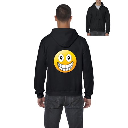 Emojis Hoodie Big Smile Grinning Big Mouth  Mens Hoodies Zip Up Sweater