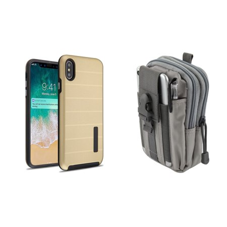 Dual Layer Armor Textured Anti-Slip Grip Phone Case Cover (Gold) with Gray Tactical EDC MOLLE Belt Bag Pouch and Atom Cloth for Apple iPhone XS Max