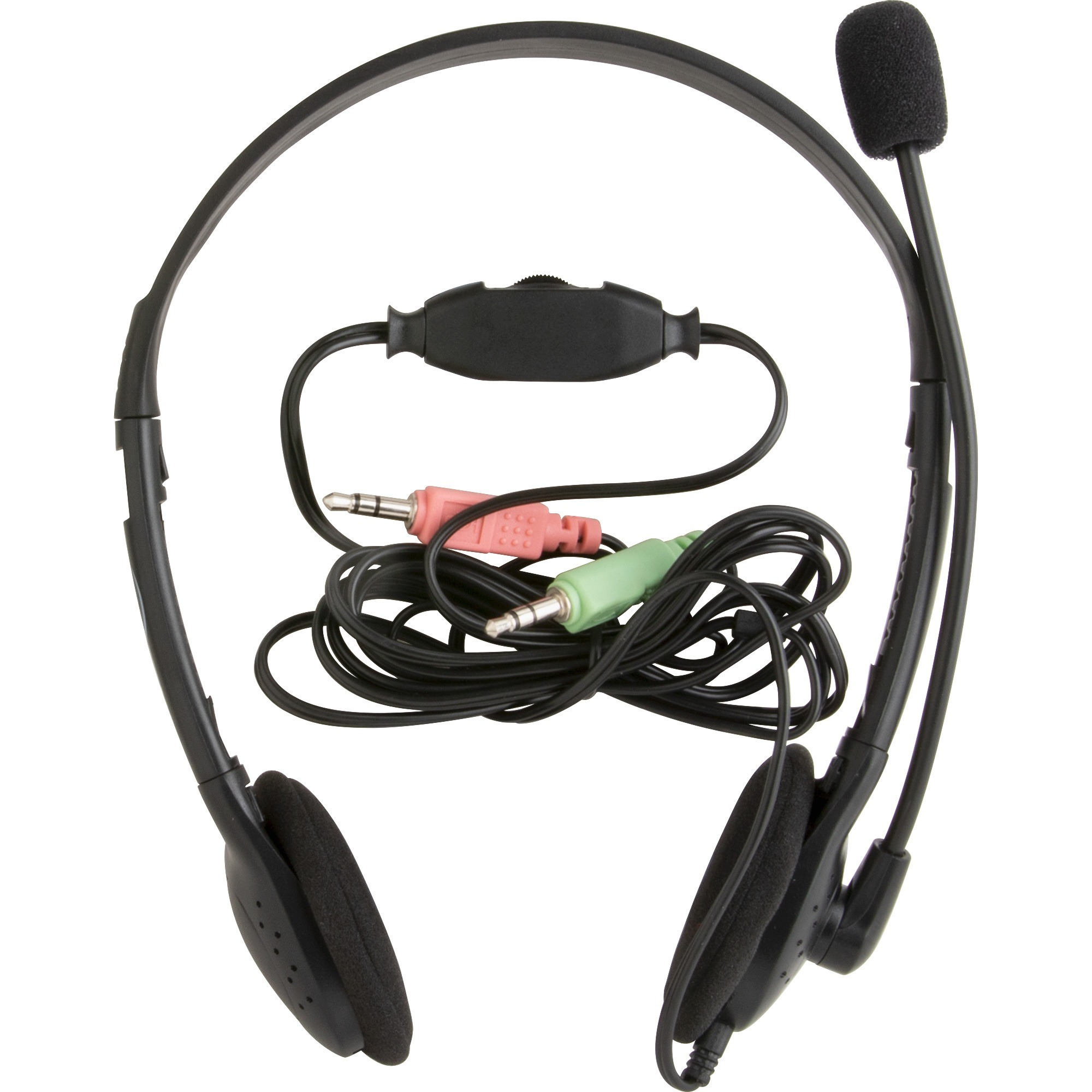 Compucessory, CCS15154, Lightweight Stereo Headphones with Mic, 1, Black