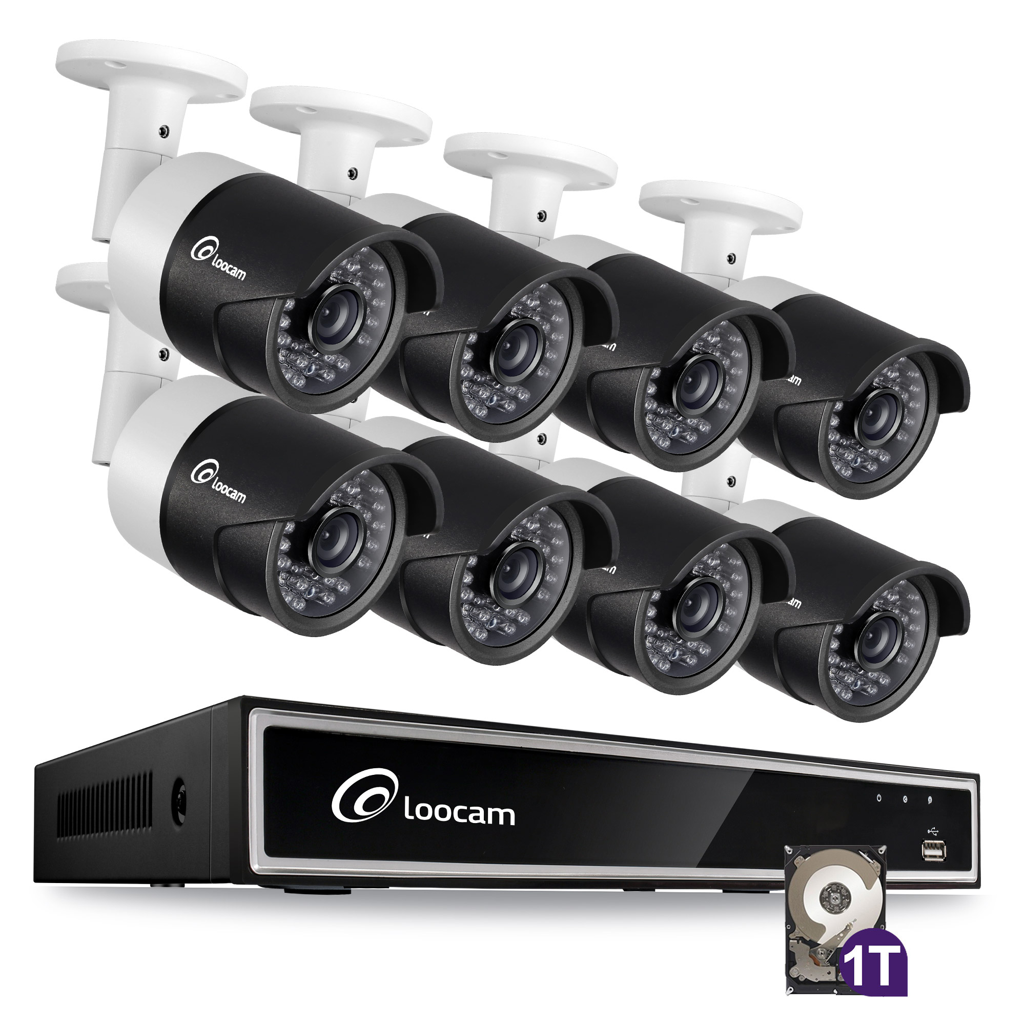 Loocam Security Camera System HD-TVI 720P 16-Channel 1TB Video DVR Surveillance Kit and 8PCS 1.0MP Indoor /Outdoor Weatherproof Bullet Camera 150FT Night Vision with IR Cut