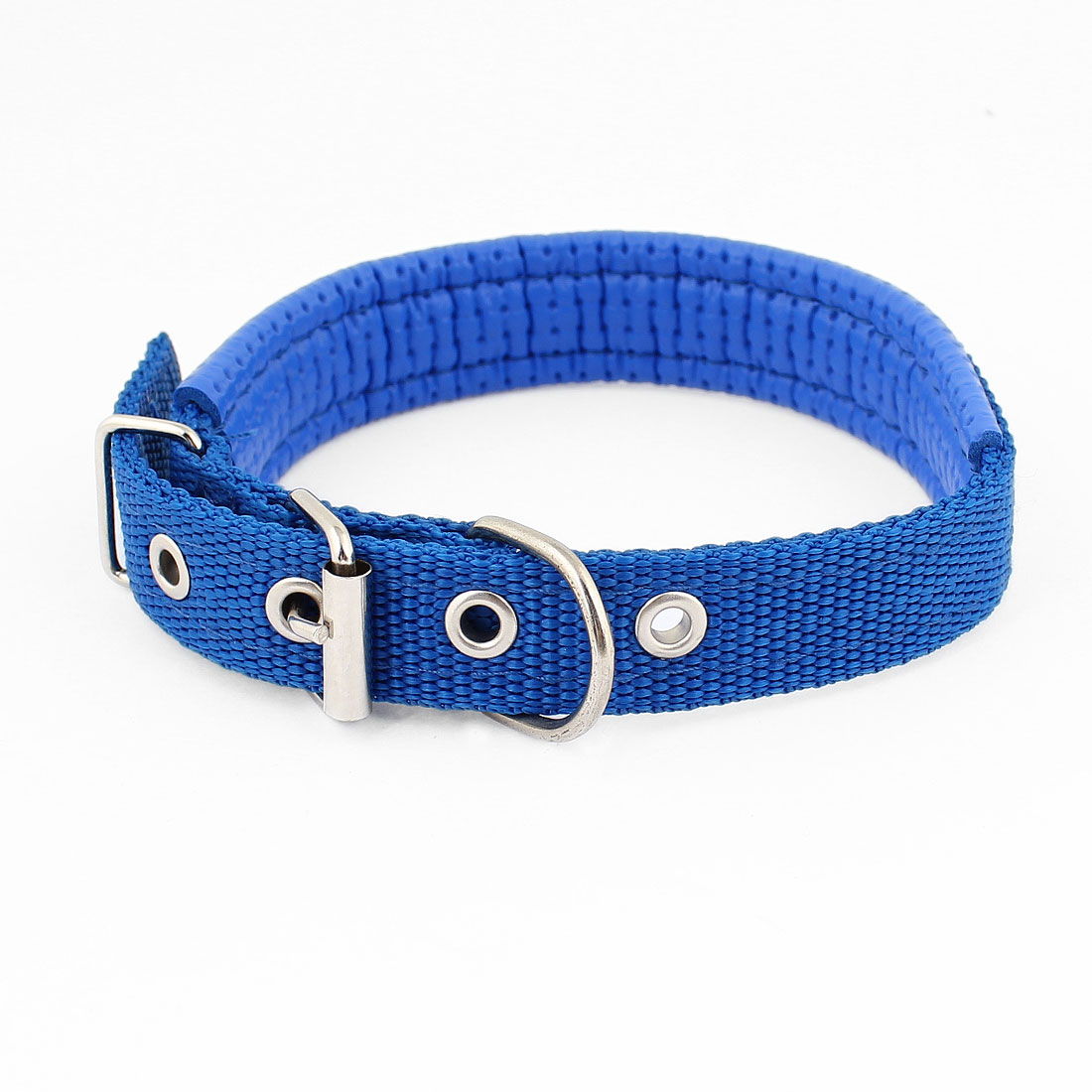 Blue Faux Leather 2.5cm Width Adjustable Pet Cat Dog Doggy Puppy Collar Rope