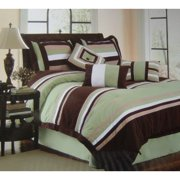 11pc Bed-in-a-Bag Micro-Suede Palermo Sage-Includes 600TC Sheet Set!