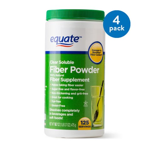 (4 Pack) Equate Sugar Free Fiber Supplement Powder, 125 Ct, 16.7 (100% Coir Fiber)